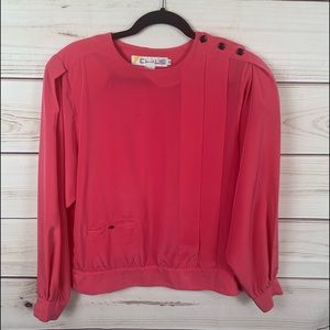 CHAUS pink pleated blouse
